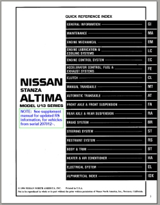 1995 Nissan Altima Factory Service Manual